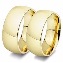 Par Alianças Casamento Baratas Banhadas Ouro 18k Grossa 8mm