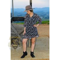 Vestido Country Camisão Estampa Exclusiva Selaria Guiricema