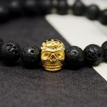 Pulseira Demidio Design Caveira Skull Pedra Vulcão Ouro 18k