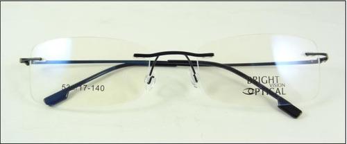 5ab31ed6aee87 Armação Discreta Preta Invisível Óculos Grau Titanium A437