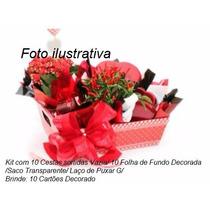 Kit 10 Mini Ursinho 10 Xícaras 10 Kit G 10 Cesta Café Vazia