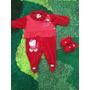 Macacão Infantil Vermelho Com Pantufa De Linho