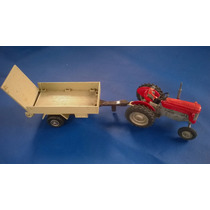 Miniatura Trator Massey Ferguson 65x + Matchbox Farm Trailer