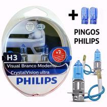 Lampada Farol H3 4300k Cristal Vision Super Branca Philips