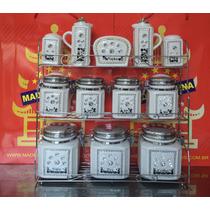 Galheteiro Porta Condimentos 12 Peças - Cerâmica
