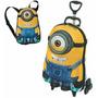Mochila Infantil De Rodinhas 3d + Lancheira Minions Stuart