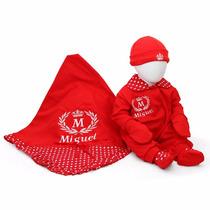 Kit Saída Maternidade Vermelha Personalizada - 5 Peças