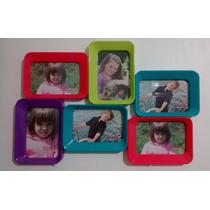 Porta Retratos Colorido Tipo Quadro Para 6 Fotos 10x15 Cm