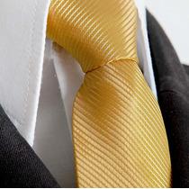 16 Pcs Gravata Semi Slim Dourada Com Nó