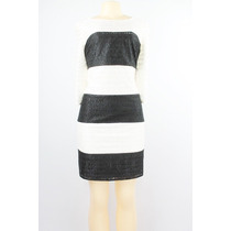 Jessica Simpson Color Block Lace Vestido Listrado Preto Do M