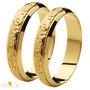 Aliança Comemorativa Para Bodas De Ouro Com Textura Bd001