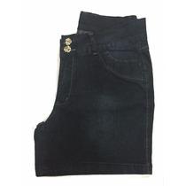 Short Jeans Feminino C/ Elastano Plus Bordado Eva Nos Bolsos