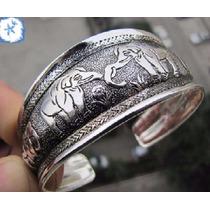 Pulseira Bracelete Elefante Indiano Prateado Envelhecido