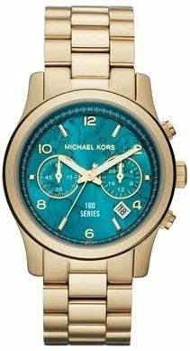 cfd2f4267 Relógio Michael Kors Mk5815 Dourado Turquesa Caixa/manual