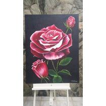 Pintura Em Tela Rosa Vermelha Óleo Sobre Tela -flor