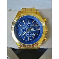 Relógio Masculino Importado De Luxo Dourado Pronta Entrega !