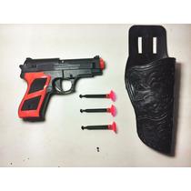 Pistola Revolver Arminha De Brinquedo Jogo De Dardos