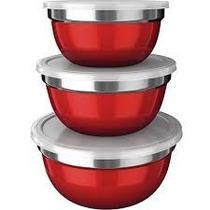 Conjunto De 3 Potes German Bowl Inox Euro Home Vermelho + Nf