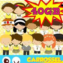 Kit Scrapbook Digital Carrossel + 3400 Imagens Cliparts 40gb
