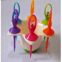 Petisqueira Bailarinas Coloridas Com 6 Pçs Novo No Leilao *