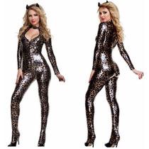 Macacão Fantasia Catsuit Vinil Lycra Sexy Leopardo - Mod 14