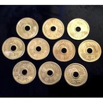 Kit Lote 10 Moedas Do Japão - Furo Original - 5 Yens Dourada