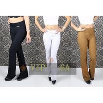 Calça Flare Cós Alto Texturizada Roupas Femininas Top 100%
