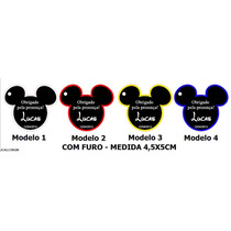 60 Tags - Cabeça Mickey - Com Borda Colorida