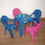 Jogo De Mesa Infantil Com 04 Cadeiras Plástica P Criança Kit