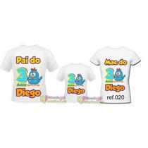 Kit 3 Camisetas Personalizada Aniversário Galinha Pintadinha