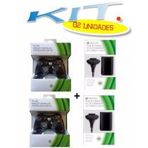 Kit 02 Controles Xbox 360 Sem Fio + Carregados+ Baterias