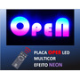 Placa Propaganda Open Led, Multicor, Efeito Neon