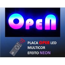 Salão Placa Open Led, Multicor, Efeito Neon