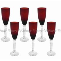 Conjunto De Taças Em Cristal Vermelho Base Transparente