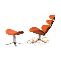 Cadeira Corona Laranja Couríssimo Paul M. Volther Com Puff