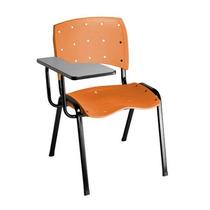 Cadeira Universitária Em Polipropileno Laranja Com Prancheta