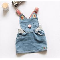 Jardineira Jeans Infantil Menina - Hello Kit- Pronta Entrega