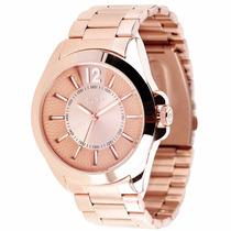 Relógio Euro Grande Feminino Offida Dourado Rose Eu2035rr/4t
