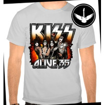 Camiseta Kiss Alive Banda Rock Baby Look Regata Blusa