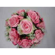 Buquê Bouquet Noiva Flores Rosas Artificiais Rosa