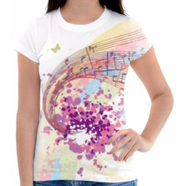 Camisa Camiseta Musica Notas Piano Colorida Pentagrama Linda
