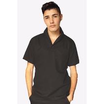 Camisa Masculina Gola Italiana Preta Para Trabalho