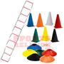 2 Escadas +20 Pratos +20 Cones Flexível Treino Funcional