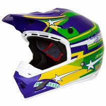 Capacete Motocross Th1 Nações Top Helmet Pro Tork + Brinde