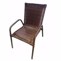 Kit 04 Cadeira Tipo Poltrona Para Varanda Junco Empilhavel