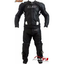 Macacão De Couro Para Motociclista Speed X11 2 Peças