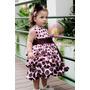 Vestido Marrom E Rosa Infantil Festa Luxo