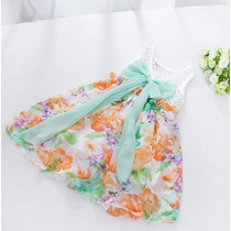 Vestido Floral Com Laço Verde 2-3 Anos Novo