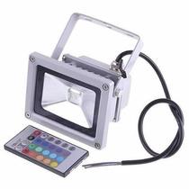 Refletor Holofote Led 10w Rgb Colorido Com Controle Remoto