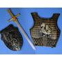 Gladiador Medieval Escudo Peitoral Espada Armadura